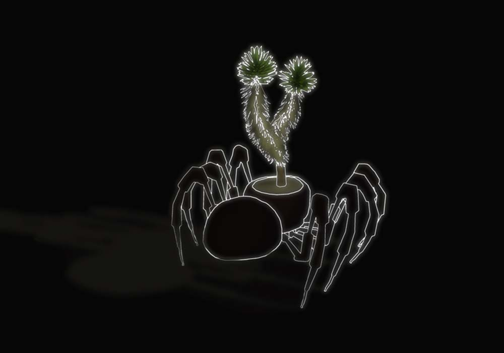 tarantula 'bot housing a Joshua Tree sapling